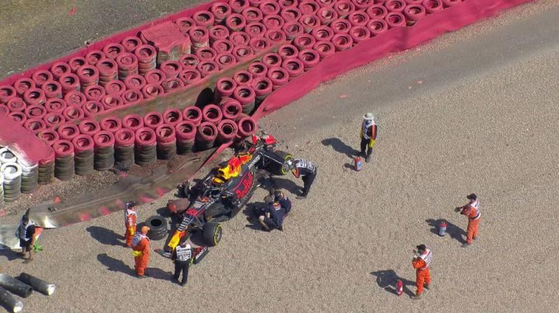 Verstapena mašīna pēc avārijas. Foto: f1.com