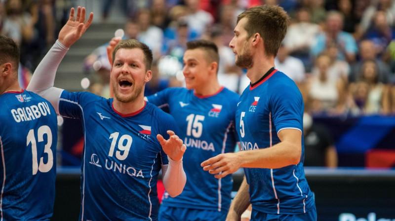 Čehijas izlases volejbolistu prieki. Foto: eurovolley.cev.lu