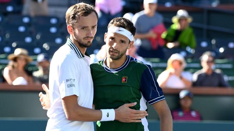 Daniils Medvedevs un Grigors Dimitrovs. Foto: USA Today Sports/Scanpix